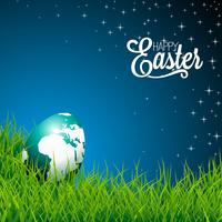 Easter illustration with shiny globe-egg