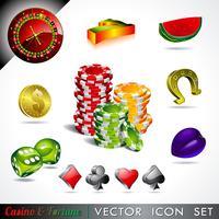 coleção de ícone com um tema de cassino e fortuna.