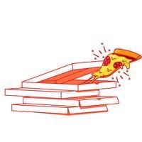 Um pedaço de pizza na caixa. Entrega de alimentos. Ilustração de linha plana de vetor