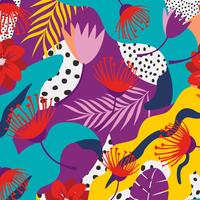 Tropiska djungelbladen och blommor bakgrunden. Färgrik tropisk affischdesign