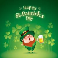 funny leprechaun with mug of beer