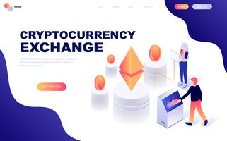 Concept isométrique de design plat moderne de Cryptocurrency Exchange