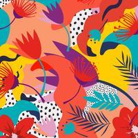 Selva tropical folhas e flores de fundo. Design de cartaz tropical colorido
