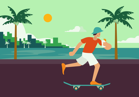 Boy Skating on Summertime Vector Illustration