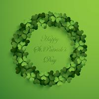 Greeting card with wreath of clover leaves