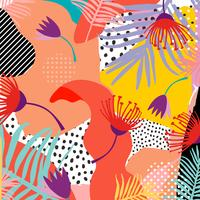 Tropical jungle leaves and flowers background. Colorful tropical poster design