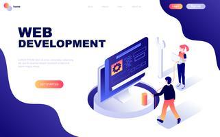 Conceito isométrico moderno design plano de desenvolvimento Web