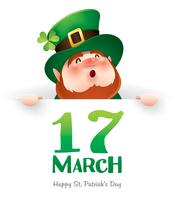 cartoon leprechaun holding sign