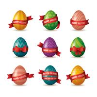 set of painted eggs with ribbons vector