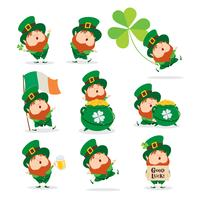 set of cartoon leprechauns vector