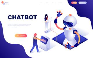 Concept isométrique de design plat moderne de Chat Bot et Marketing