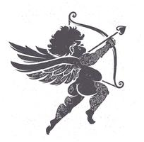 Cupid Silhouette with Tattoos