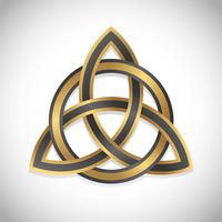 triquetra simbolo oro vector