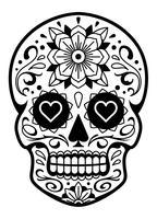 Vector cráneo mexicano con patrones