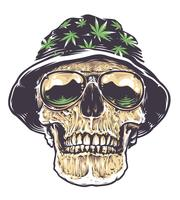 Rasta Skull i hatt och solglasögon