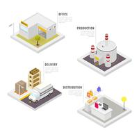 Isometric Industrial Buildings Set Vector Colection