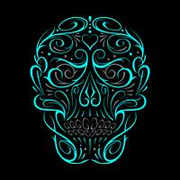 Abstract Skull Shape Turquoise Pattern