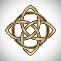 triquetra simbolo oro cuadrado vector