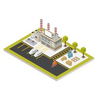 Isometric Industrial Buildings Set Vector Illustration
