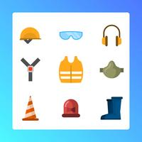 Flat Personal Protective Equipment for Construction Vector Illustration
