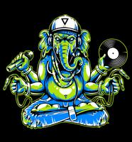 Ganesha with Musical Attributes Vector