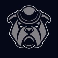 Bulldog in hoed mascotte vector pictogram