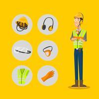 Ensemble d'icônes de caractère d'équipement de protection individuelle