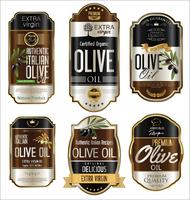 Olive oil retro vintage golden background collection vector