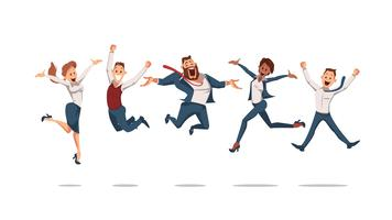 Happy Office Workers Jumping. Vector Illustration.