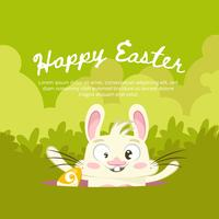 Green background for easter with a funny rabbit
