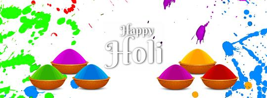 Abstract Happy Holi festival banner template vector