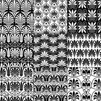 black and white seamless classical greek patterns