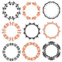 halloween damask circle frames