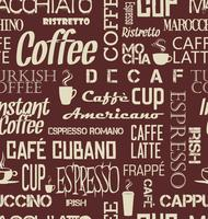 Background seamless tile of coffee words and symbols