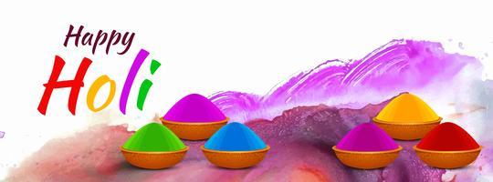 Gelukkig Holi Indian festival kleurrijke banner ontwerp