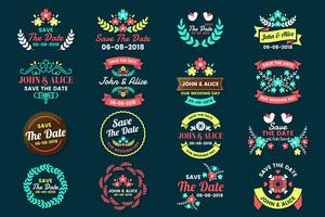 Matrimonio Retro Vintage Vector Label