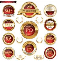 Emblemas e etiquetas de ouro premium de luxo