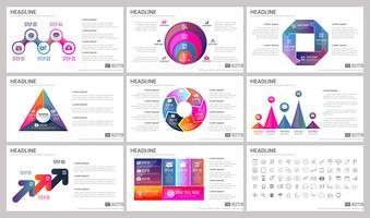 Elementos modernos de infográficos para modelos de apresentações para banner