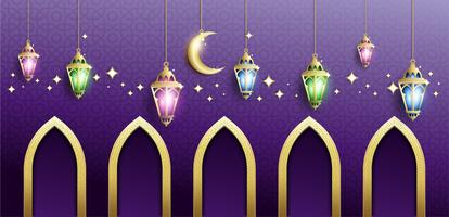 Ramadan Kareem con Hanging Fanoos Lantern e Mosque Background