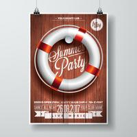 Vector Summer Beach Party Flyer Design with typographic elements and life buoy