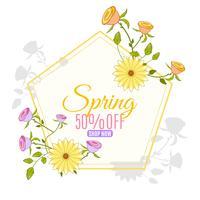 Banner de venta de primavera de dibujos animados