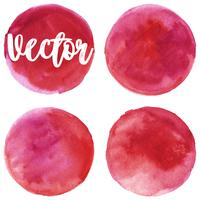 Set of watercolor stain. Spots on a white background. Red, pink.  Circle. Isolated. Vector.