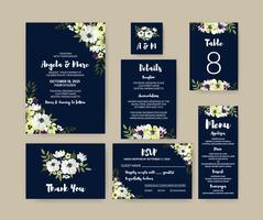 Conjunto floral blanco y azul de la boda