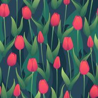 Nahtloses Vektormuster mit roten Tulpen.