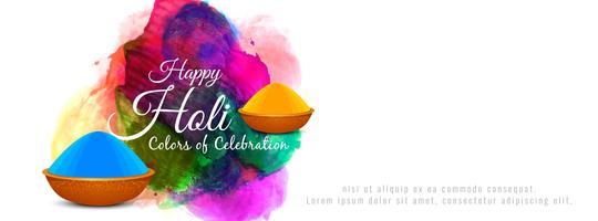 Happy Holi Indian festival colorful banner design vector