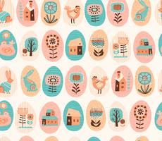 Vector seamless pattern with easter symbols and folk flowers.