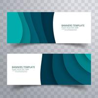 Abstract wave header set design template vector