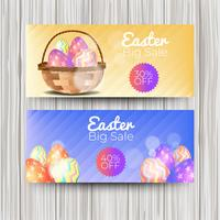 Realistic easter day banner