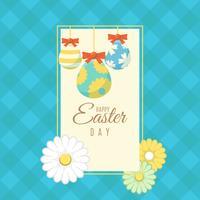 Banner de Pascua con huevos de Pascua ornamentales