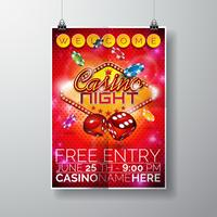 Vector Party Flyer design on a Casino theme with chips and dices on red background.